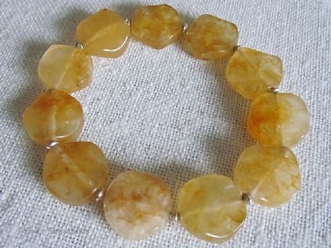 Yellow Orange Golden Jade Wavy Coins Stretch Bracelet With Sterling Silver Beads